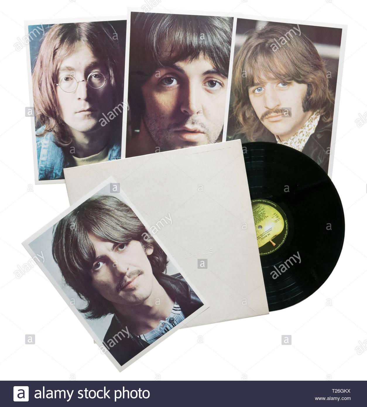 The Beatles White Album with the accompanying photos - Stock Image
