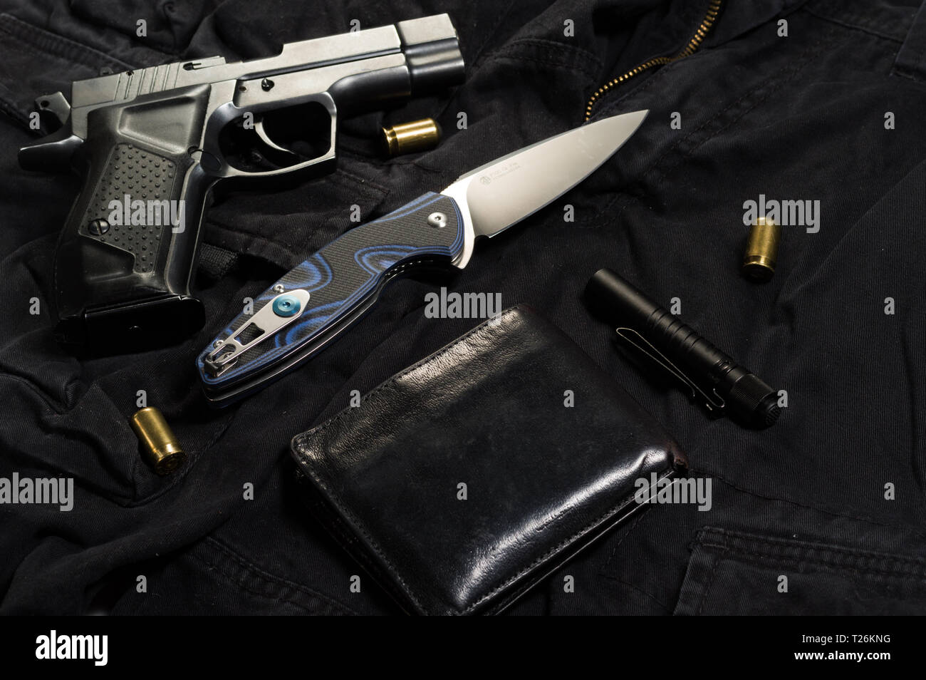 Traumatic pistol and cartridges. Weapons for self-defense. Top. - Stock Image