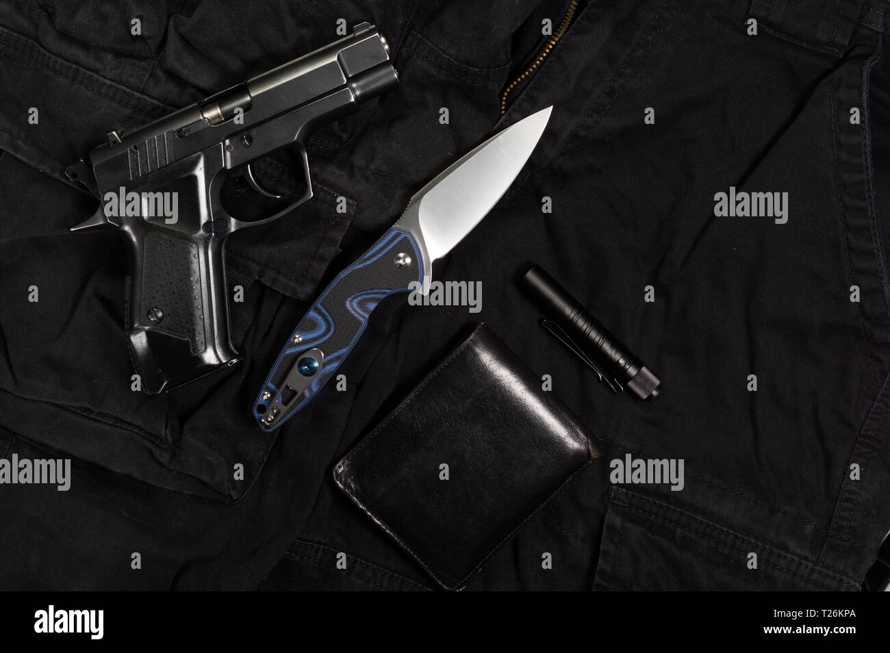 Special agent items. Items of military or police. Top. - Stock Image