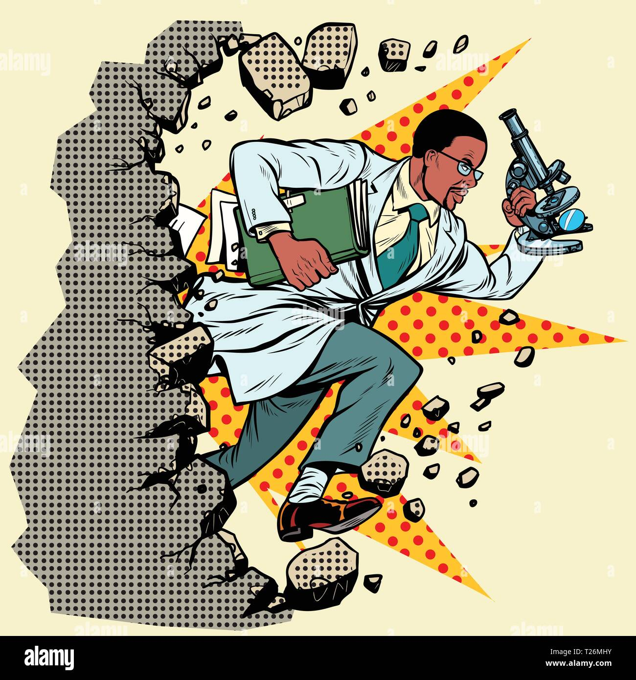 african scientist with microscope breaks a wall, destroys stereotypes. Moving forward, personal development. Pop art retro vector illustration vintage - Stock Vector