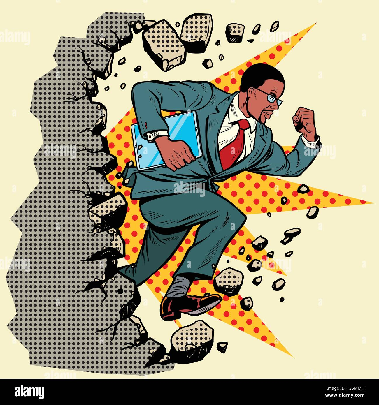 african Leader gadget novation breaks a wall, destroys stereotypes. Moving forward, personal development. Pop art retro vector illustration vintage ki - Stock Vector