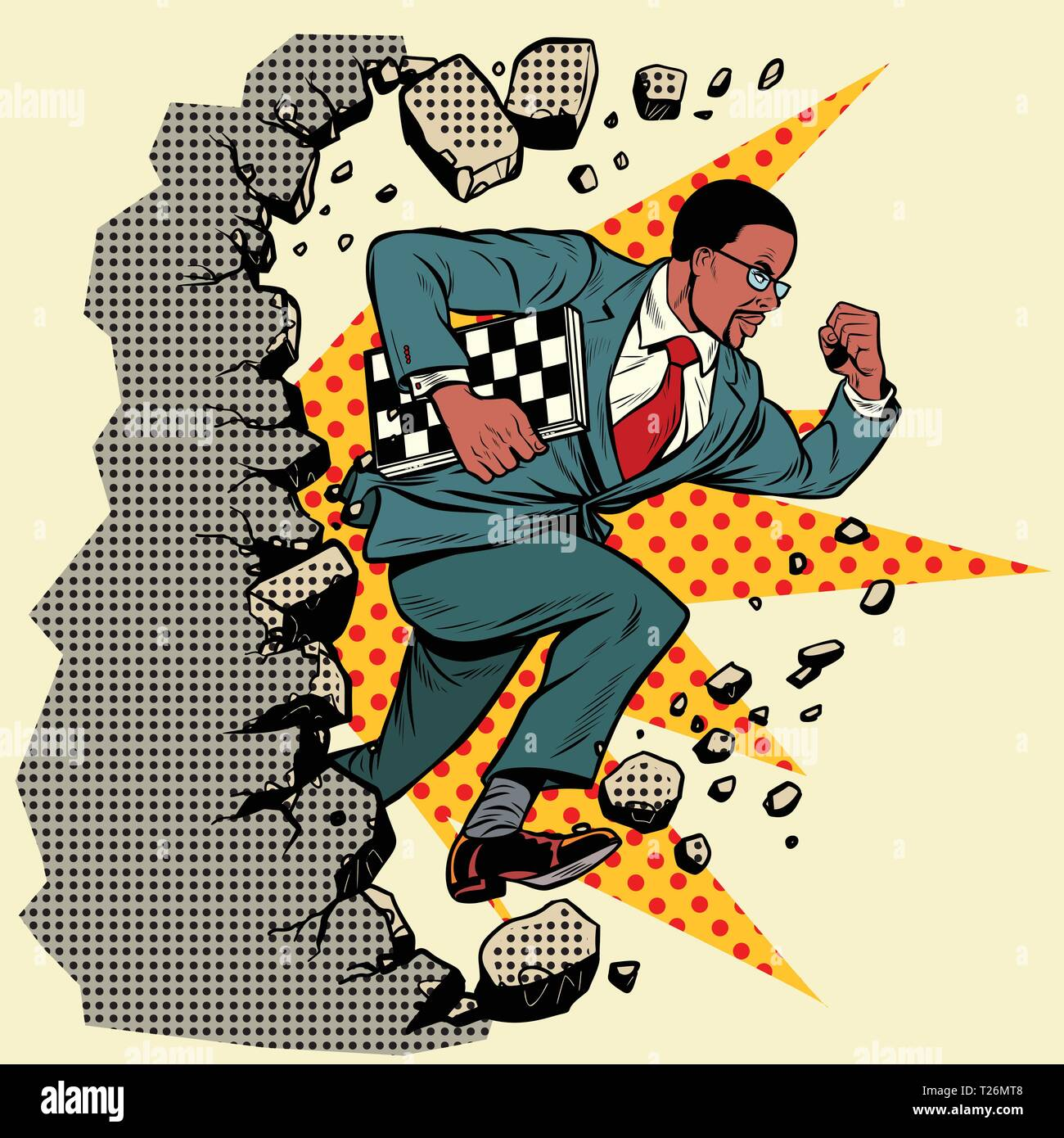 african chess grandmaster breaks a wall, destroys stereotypes. Moving forward, personal development. Pop art retro vector illustration vintage kitsch - Stock Vector