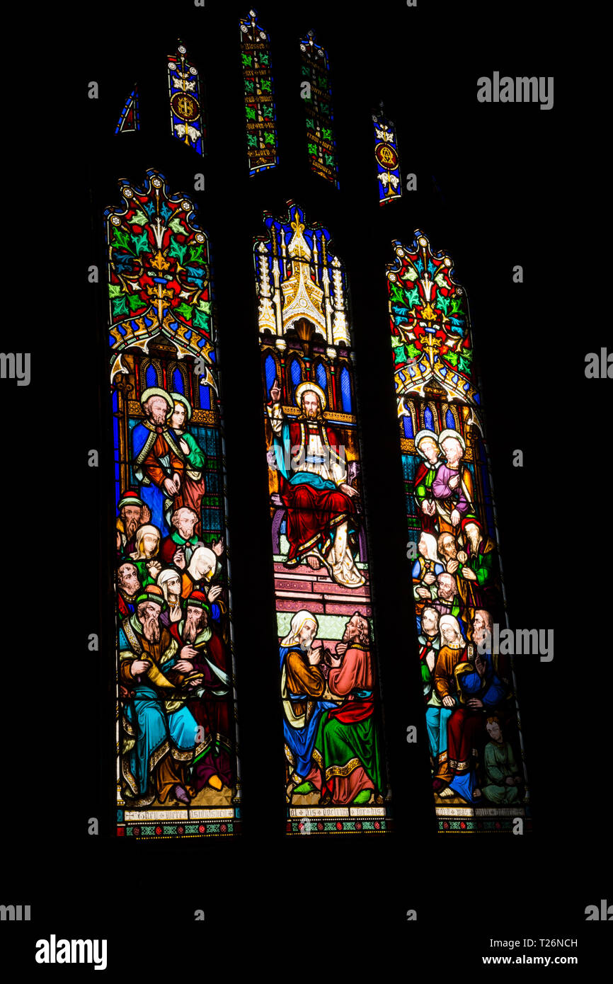 Stained glass windows of the Holdsworth Chapel in Halifax Minster. West Yorkshire. UK. (106) Stock Photo