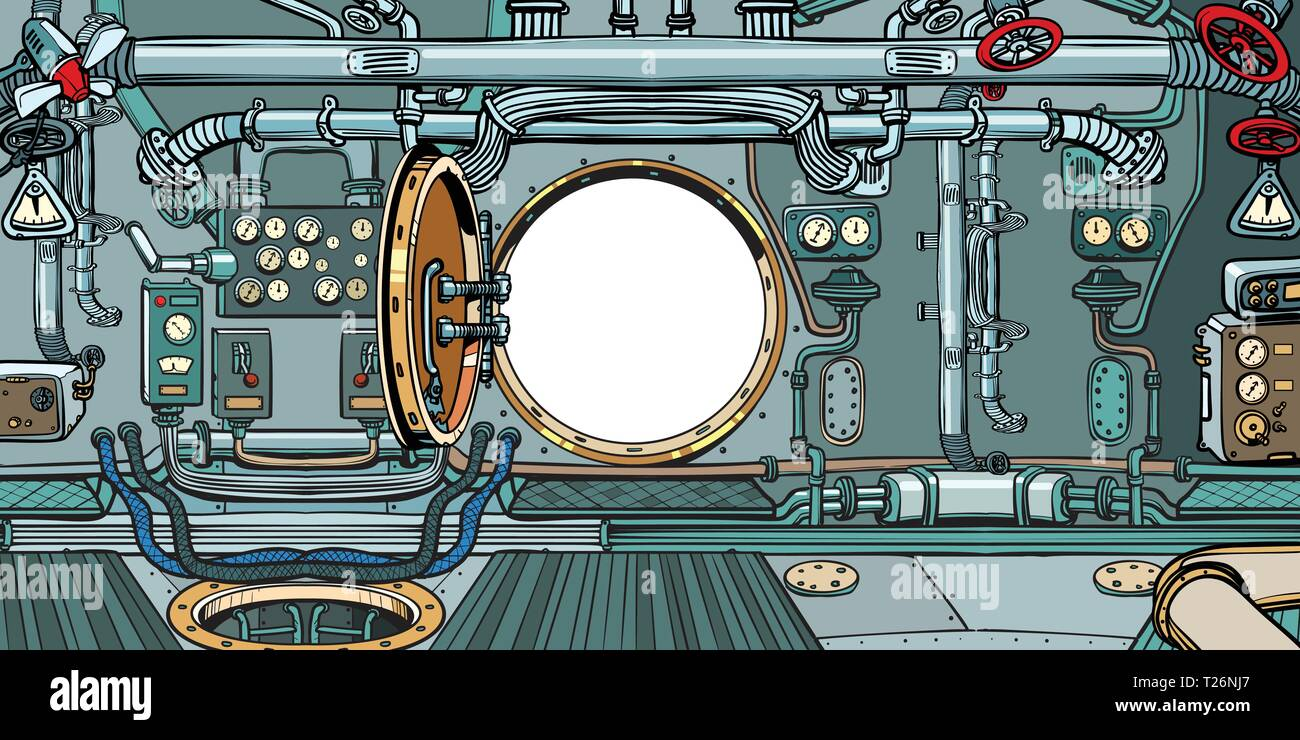 compartment or command deck of a submarine. Pop art retro vector illustration vintage kitsch Stock Vector