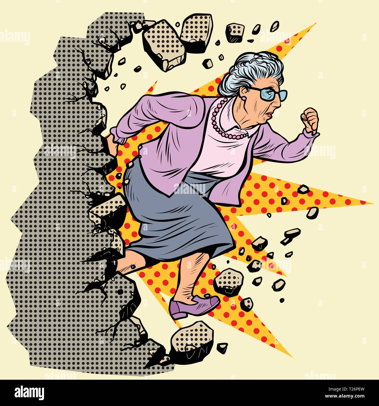 active old Granny pensioner breaks the wall of stereotypes. Moving forward, personal development. Pop art retro vector illustration vintage kitsch - Stock Vector