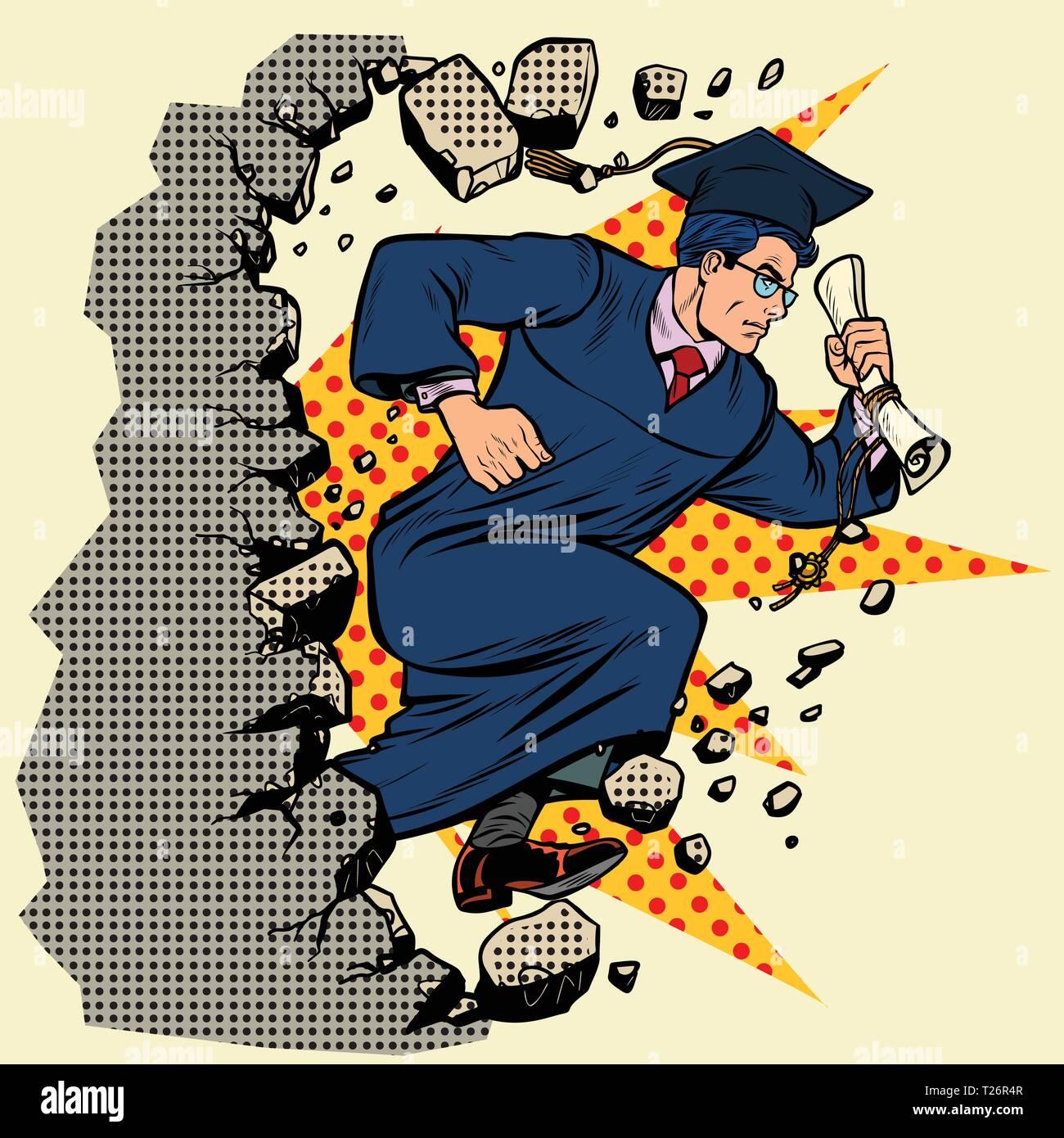graduate University College breaks a wall, destroys stereotypes. Moving forward, personal development. Pop art retro vector illustration vintage kitsc - Stock Vector