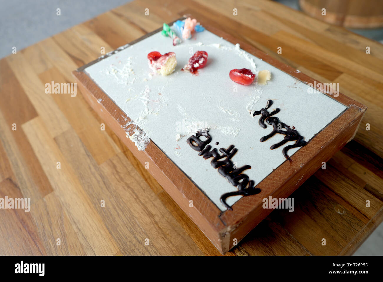 Stupendous Happy Birthday Cake Dirty And Empty Stock Photo 242324361 Alamy Personalised Birthday Cards Petedlily Jamesorg
