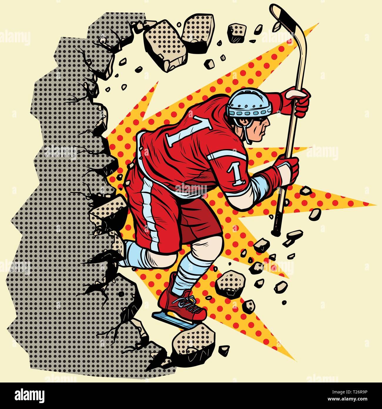 hockey player breaks a wall, winter sport. Moving forward, personal development. Pop art retro vector illustration vintage kitsch - Stock Vector