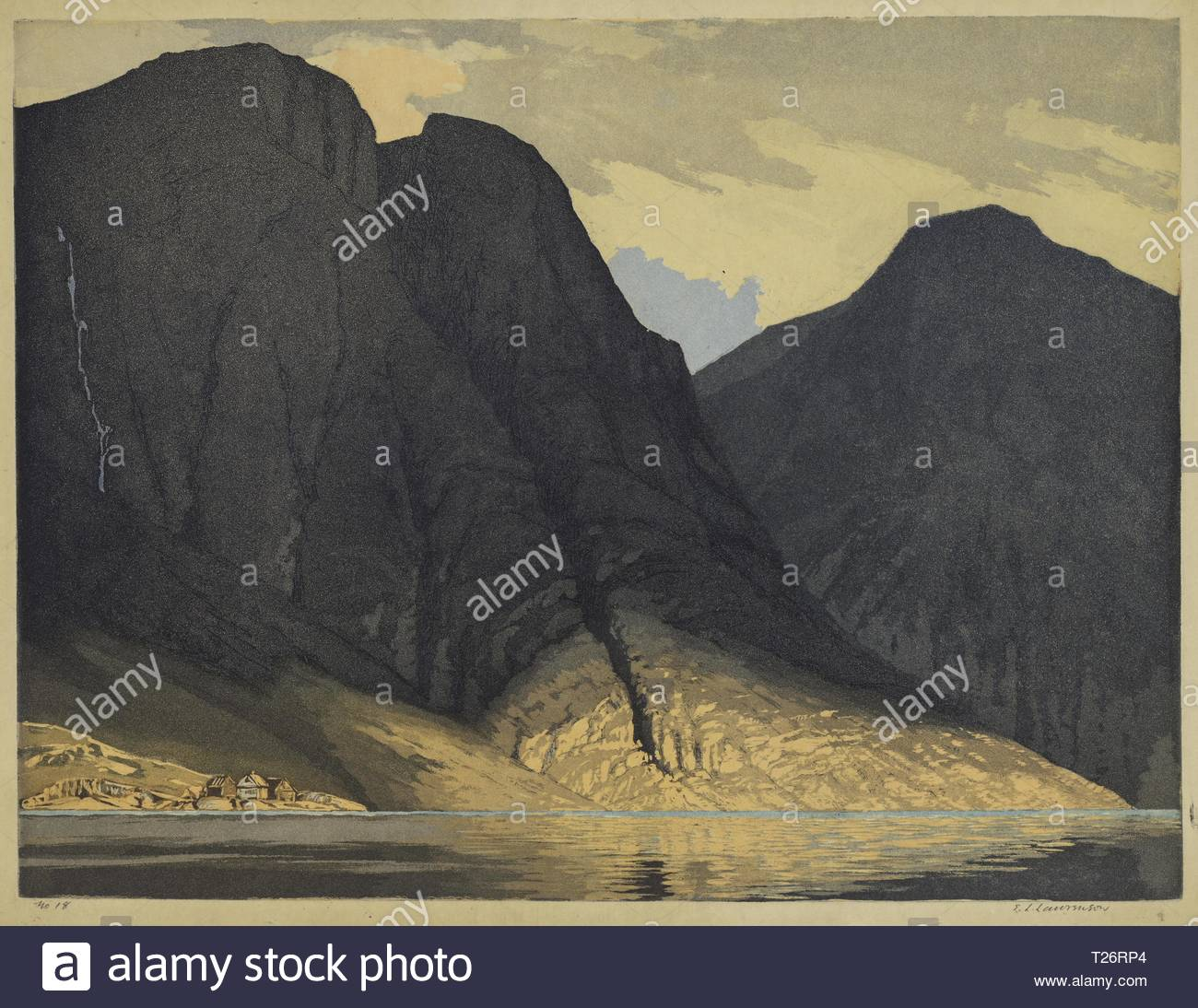 [Mountain View with Water]. Edward Louis Laurenson (British, 1868-1940). Color aquatint with roulette. - Stock Image