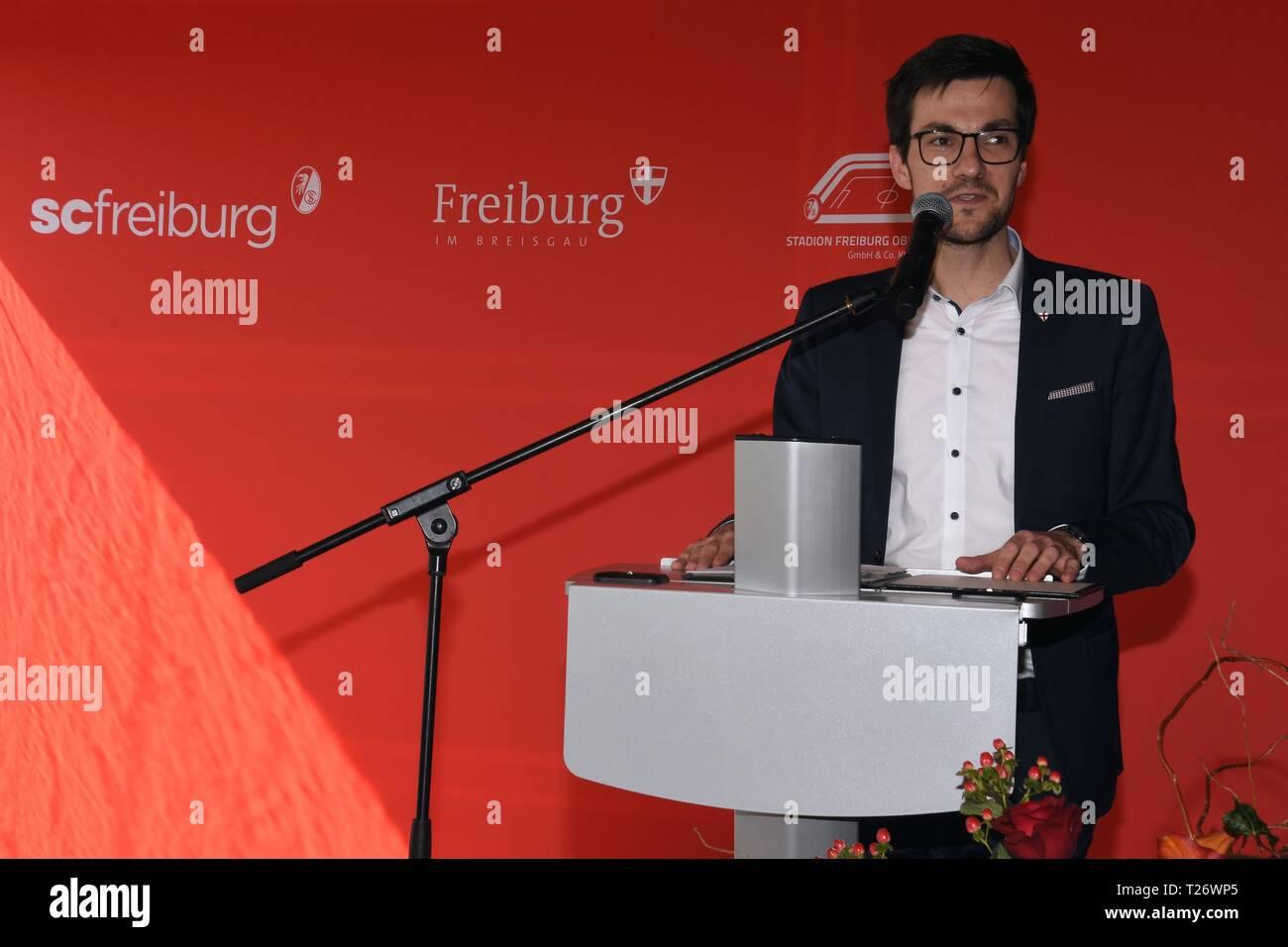 Freiburg, Germany, 29th March, 2019, Grundsteinlegung SC-Stadion  Sportclub Freiburg mit Martin Horn, Credit: mediensegel/Alamy live News - Stock Image
