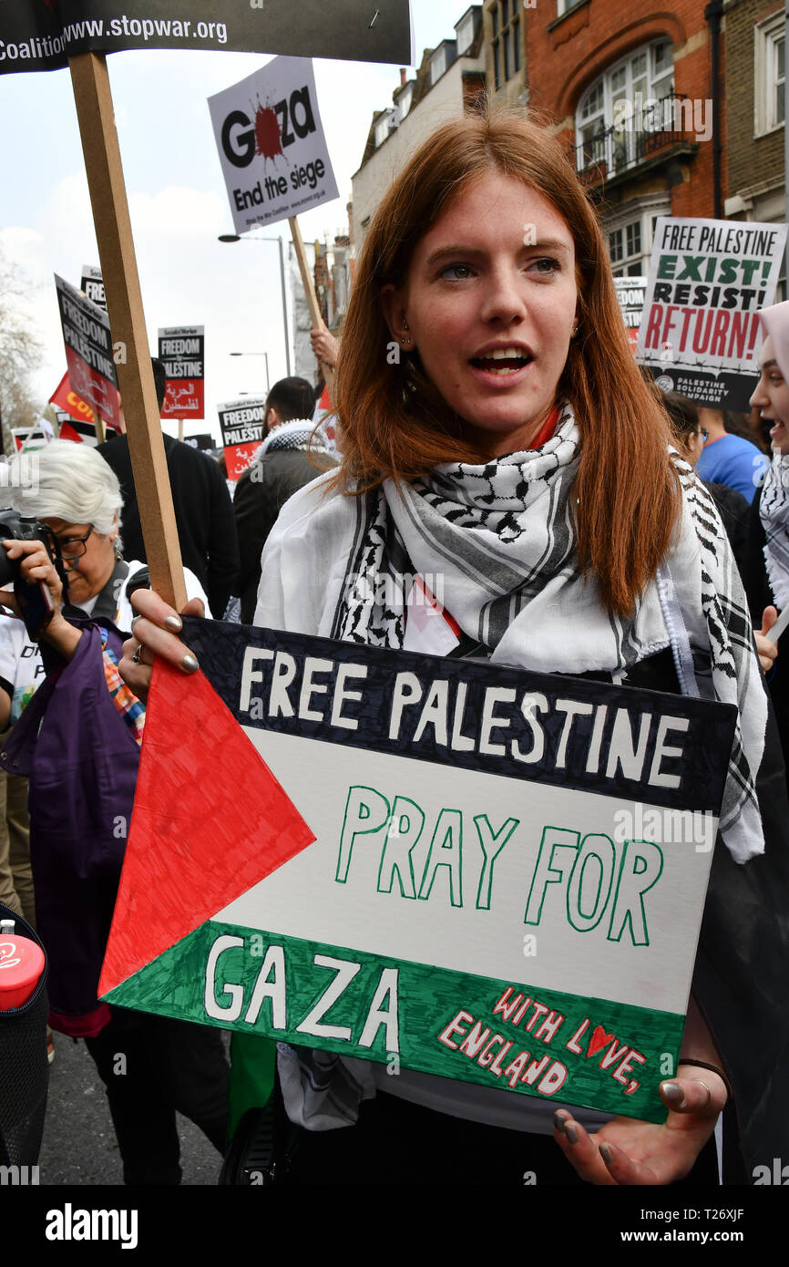 London, UK. 30th March 2019. Hundreds of pro-Palestian Students Rally for Palestine: Exist! Resist! Return! rally demand Stop Arming Israel and Gaze - End the Siege outside Israeli Embassy, Kensington High Street Credit: Picture Capital/Alamy Live News Stock Photo