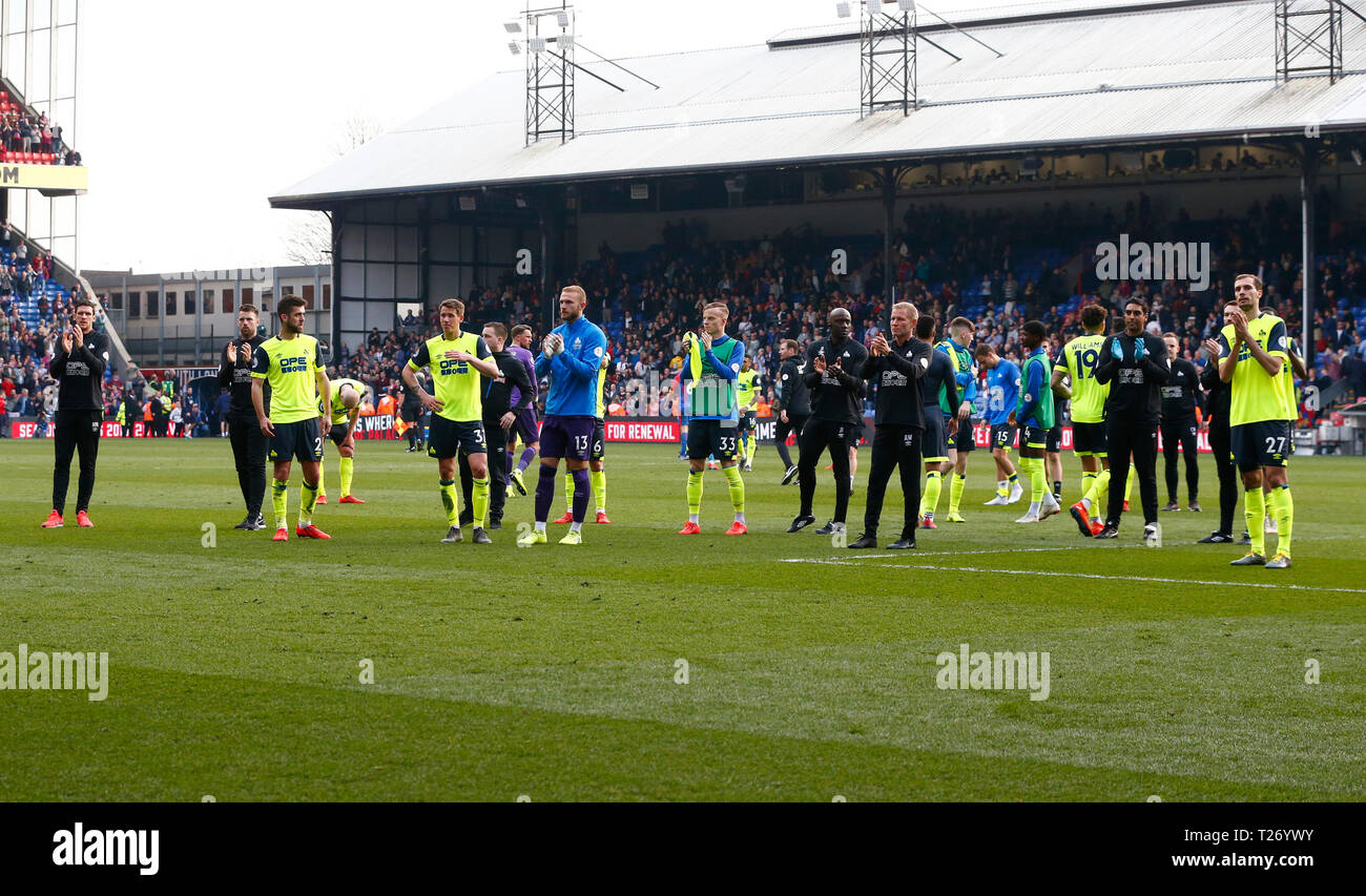 London, UK. March 2019.  Huddersfield Town go down during English Premier League between Crystal Palace and Huddersfield Town at Selhurst Park stadium , London, UK on 30 Mar 2019. Credit Action Foto Sport  FA Premier League and Football League images are subject to DataCo Licence. Editorial use ONLY. No print sales. No personal use sales. NO UNPAID USE Stock Photo