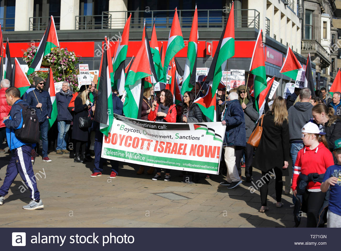 Edinburgh, Scotland, UK. 30th March 2019.  Gathering in Castle Street before marching to Bute House, Charlotte Square. Demonstration of solidarity with the Palestinian people on 30th March, Land Day, which also marks one year since the start of the Gaza Great March of Return. On Land Day in 2018, Palestinians in Gaza began their Great March of Return calling for the lifting of Israel's 11-year illegal blockade on Gaza and for the right of Palestinian refugees to return to their villages and towns. Credit: Craig Brown/Alamy Live News - Stock Image