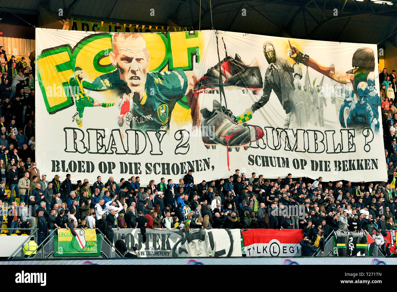 Den Haag 30 03 2019 Cars Jeans Stadion Season 2018 2019 Banner Of Ado Den Haag Supporters Before The Match Ado Den Haag Vitesse Stock Photo Alamy