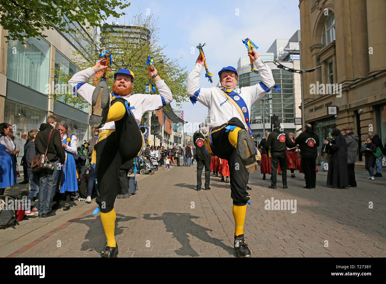 Manchester, UK. 30th March 2019. The Joint Morris Organisations national day of dance takes place with Morris dancers taking part from all over the country. Manchester, UK, 30th March 2019 (C)Barbara Cook/Alamy Live News - Stock Image
