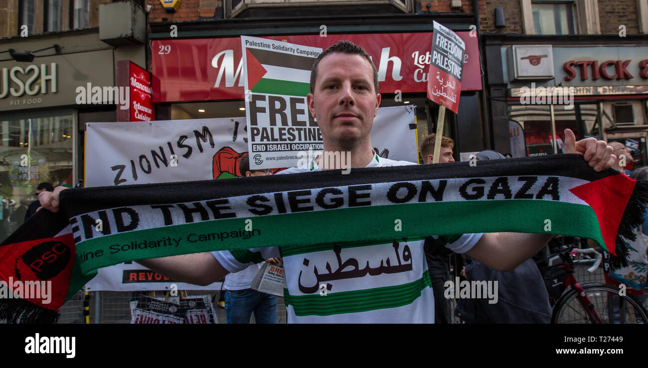 London, UK. 30 March, 2019. Palestinians and supporters gathered outside of the Israeli Embassy in London to mark the beginning of Nakba and to call on the global community to hold Israel to account for their violation of human rights and International law. David Rowe/ Alamy Live News. Stock Photo