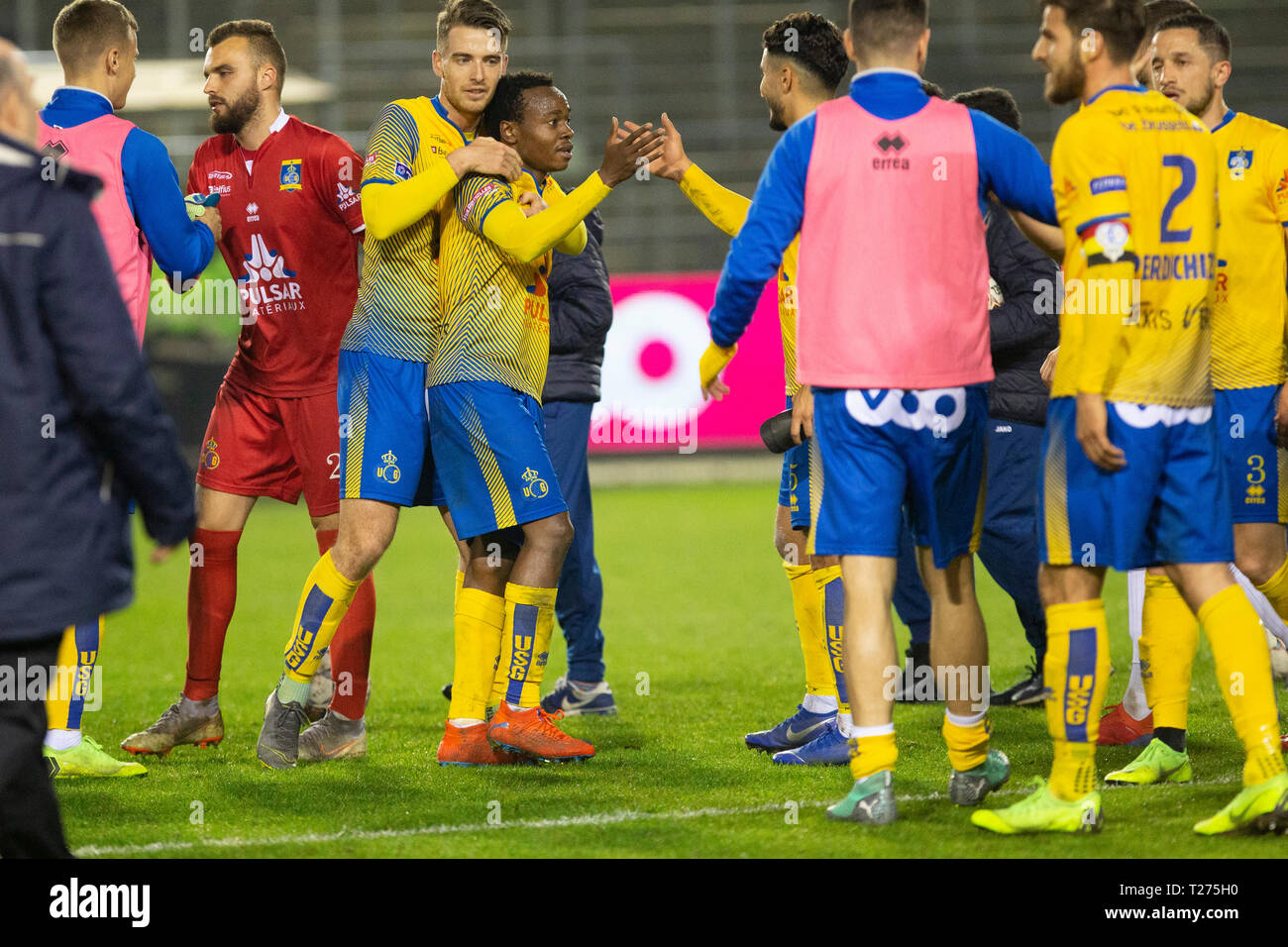Brussels Belgium March 30 Team Celebrates After Winning The Jupiler Pro League Play Off 2 Matchday 1 Between Union St Gilloise And Cercle Brugge Picture Frank Abbeloos Isosport Stock Photo Alamy