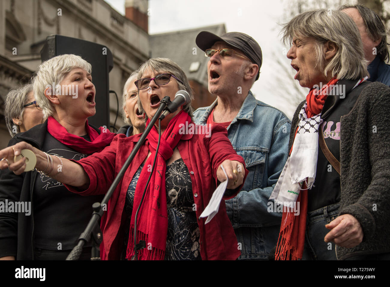 London, UK. 30 March, 2019. Palestinians and supporters gathered outside of the Israeli Embassy in London to mark the beginning of Nakba and to call on the global community to hold Israel to account for their violation of human rights and International law. David Rowe/ Alamy Live News. - Stock Image