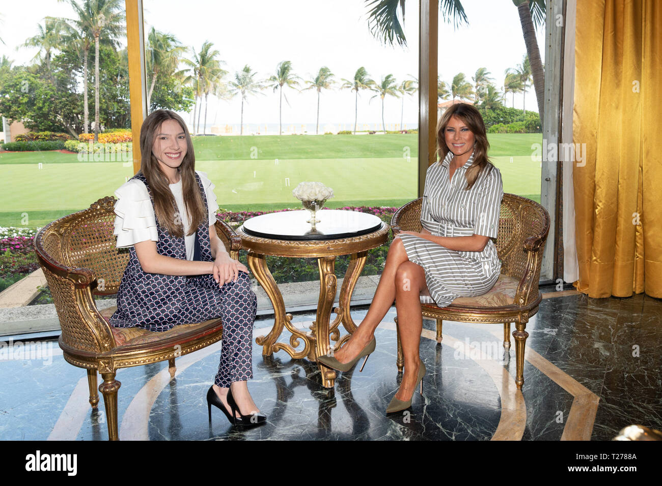 First Lady Melania Trump poses for a photo with Fabiana Rosales de Guaido, the First Lady of the Bolivarian Republic of Venezuela Thursday, March 28, 2019, at Mar-a-Lago in Palm Beach, Fla.  People:  First Lady Melania Trump, Fabiana Rosales de Guaido, the First Lady of the Bolivarian Republic of Venezuela - Stock Image