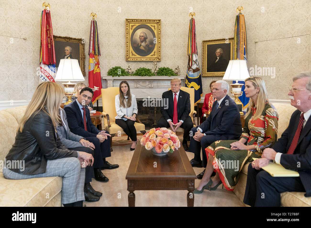 President Donald J. trump meets with Fabiana Rosales de Guaido, the First Lady of the Bolivarian Republic of Venezuela, Wednesday, March 27, 2019, in the Oval Office of the White House  People:  President Donald Trump - Stock Image