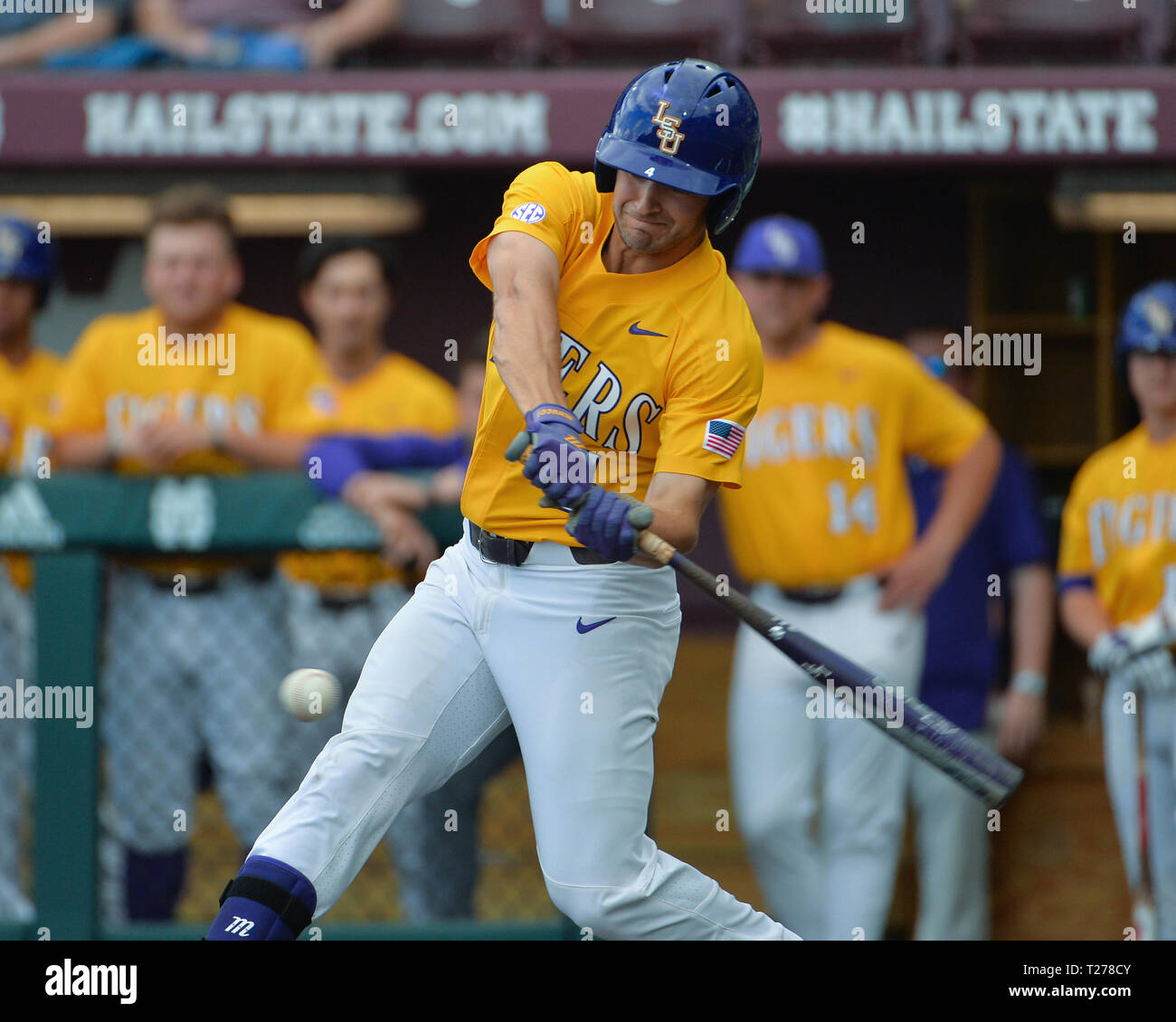 Mississippi, USA.  30th Mar, 2019. in action during the NCAA baseball game between the LSU Tigers and the Mississippi State Bulldogs at Dudy Noble Field in Starkville, MS. LSU defeated Mississippi State, 11-2. Kevin Langley/Sports South Media/CSM/Alamy Live News Stock Photo
