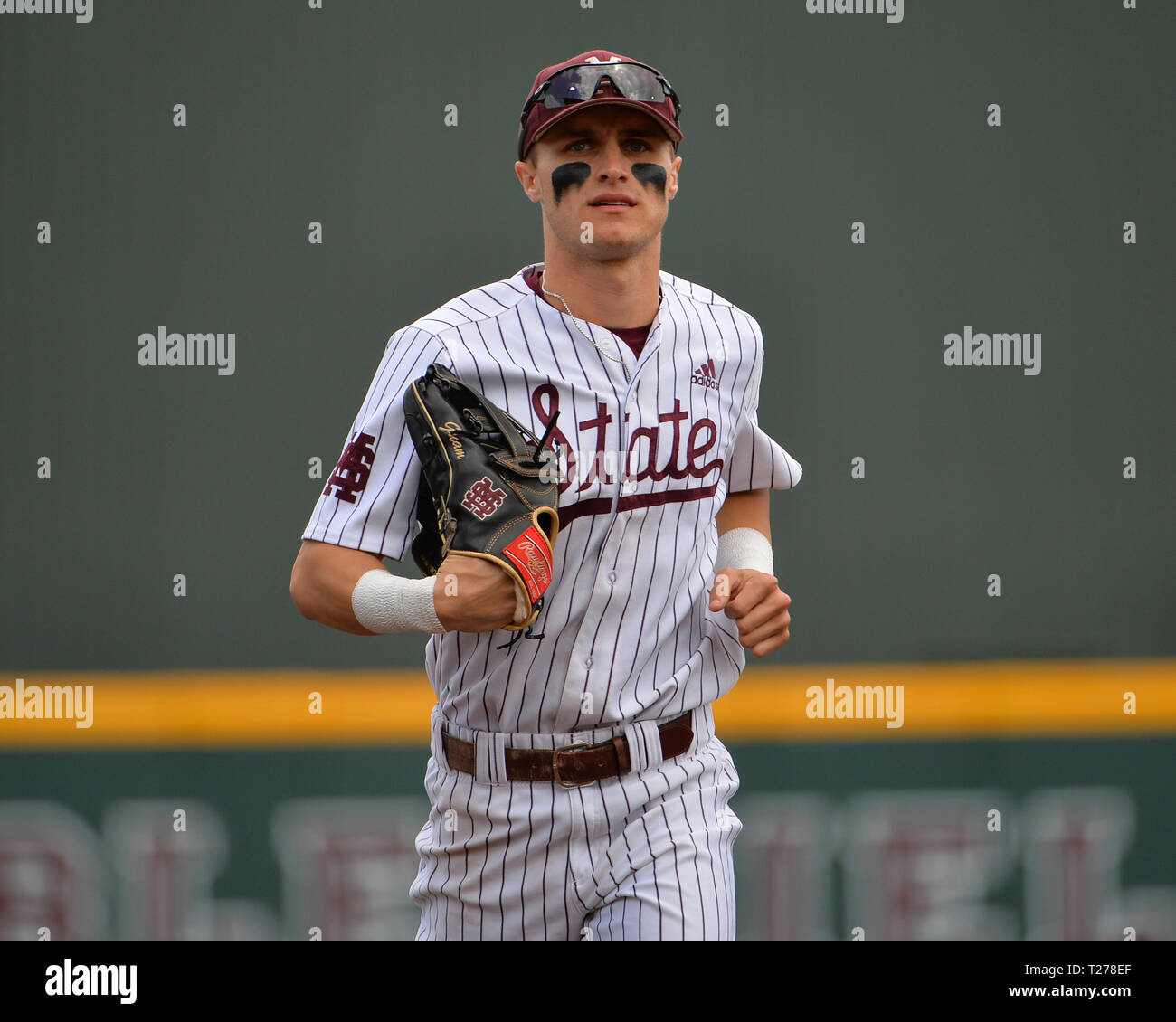Mississippi, USA.  30th Mar, 2019. Mississippi State outfielder, Jake Mangum (15), during the NCAA baseball game between the LSU Tigers and the Mississippi State Bulldogs at Dudy Noble Field in Starkville, MS. LSU defeated Mississippi State, 11-2. Kevin Langley/Sports South Media/CSM/Alamy Live News Stock Photo