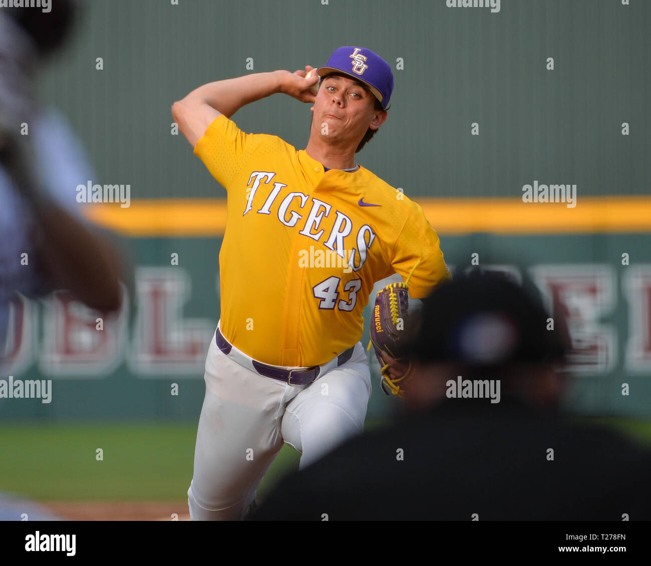 Mississippi, USA.  30th Mar, 2019. LSU pitcher, Todd Peterson (43), in action during the NCAA baseball game between the LSU Tigers and the Mississippi State Bulldogs at Dudy Noble Field in Starkville, MS. LSU defeated Mississippi State, 11-2. Kevin Langley/Sports South Media/CSM/Alamy Live News Stock Photo