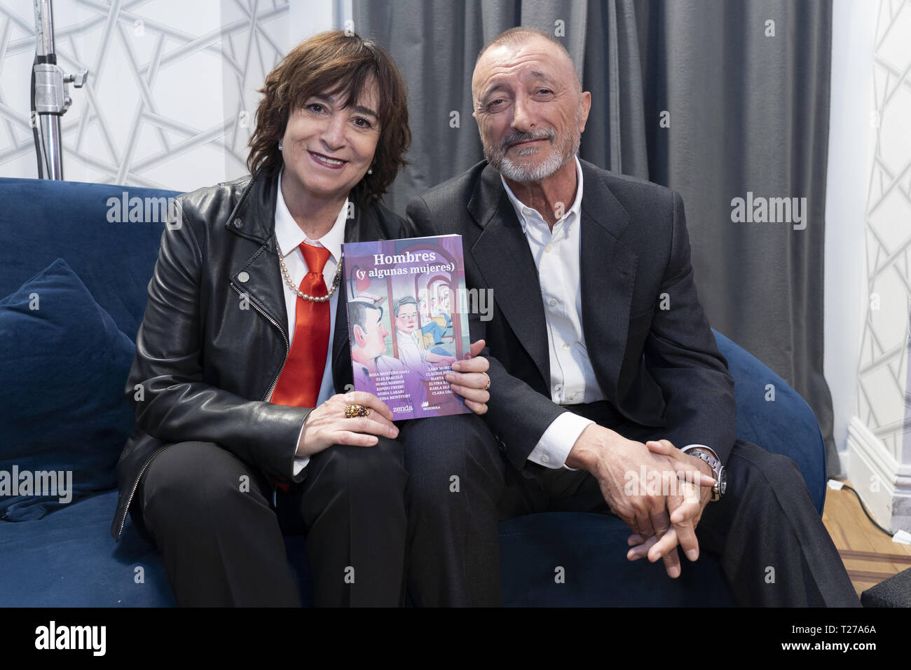 Rosa Montero and Arturo Perez Reverte during the Hombres (y algunas mujeres) book launch in Madrid  Featuring: Arturo Perez Reverte, Rosa Montero Where: Madrid, Spain When: 27 Feb 2019 Credit: Oscar Gonzalez/WENN.com - Stock Image