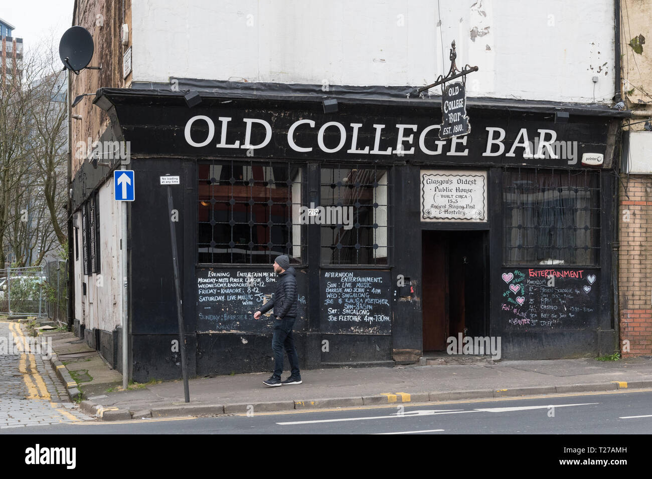 Old College Bar, High Street, Glasgow, Scotland, UK Stock Photo