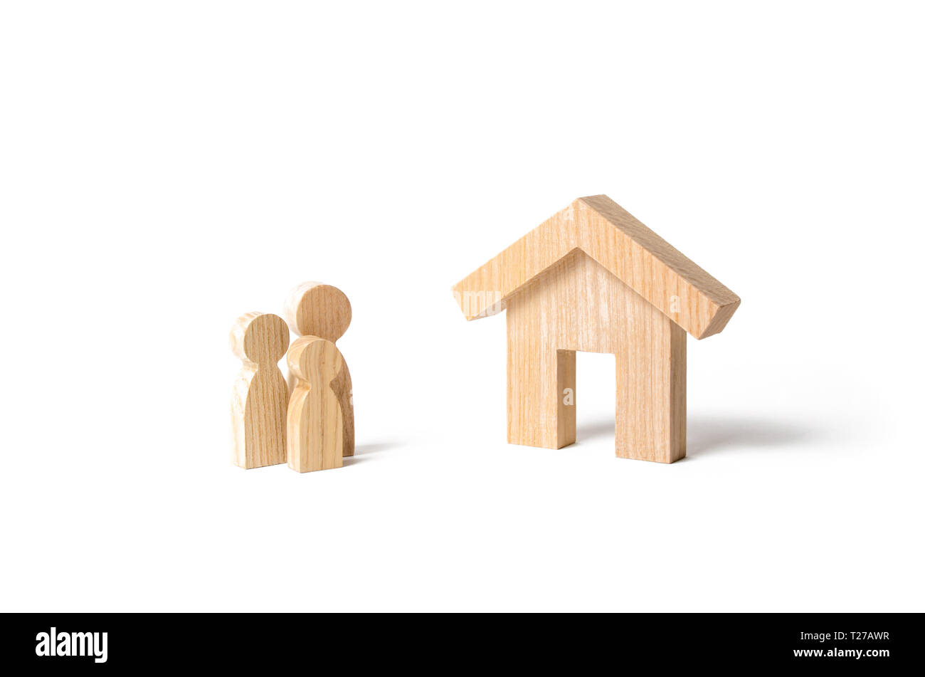 Wooden house and family. Buying a new home. Subsidy. Rental housing, investment. Mortgage and loans. Quiet and comfortable home in the suburbs. State  - Stock Image