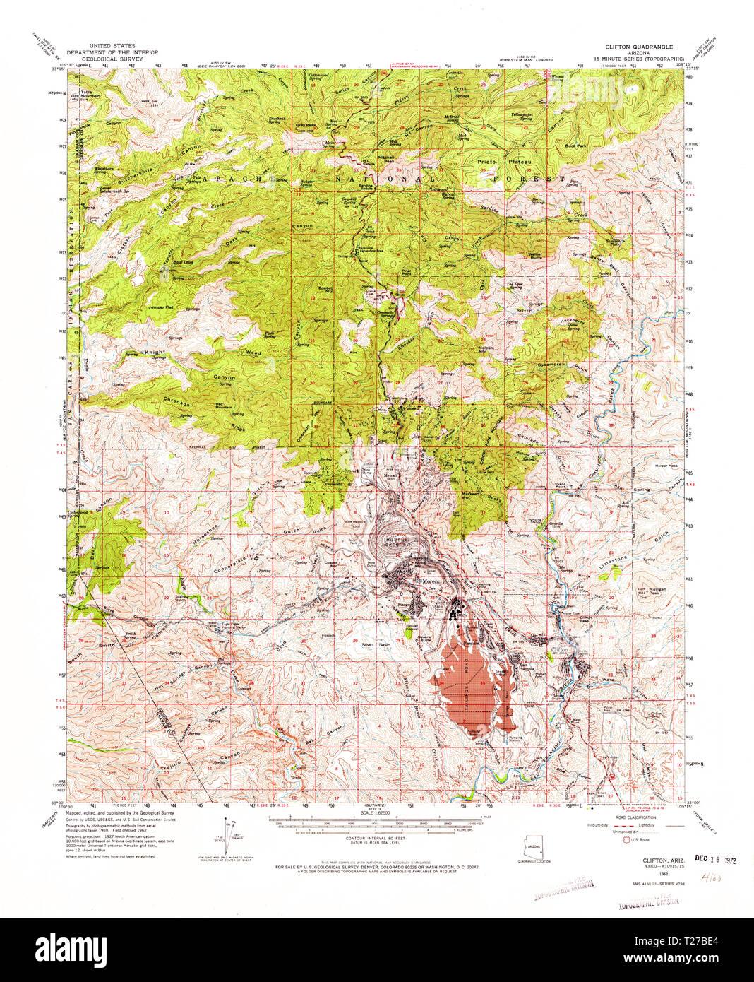 Topographical Map Of Arizona.Usgs Topo Map Arizona Az Clifton 314491 1962 62500