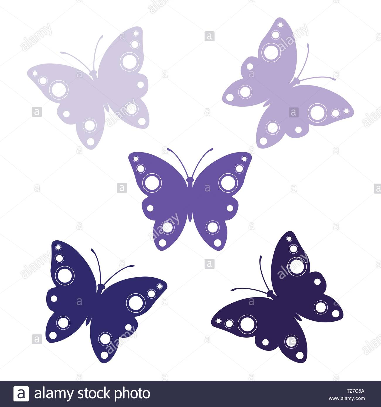 Butterfly clip art lilac butterflies set vector butterfly logo icon stock image