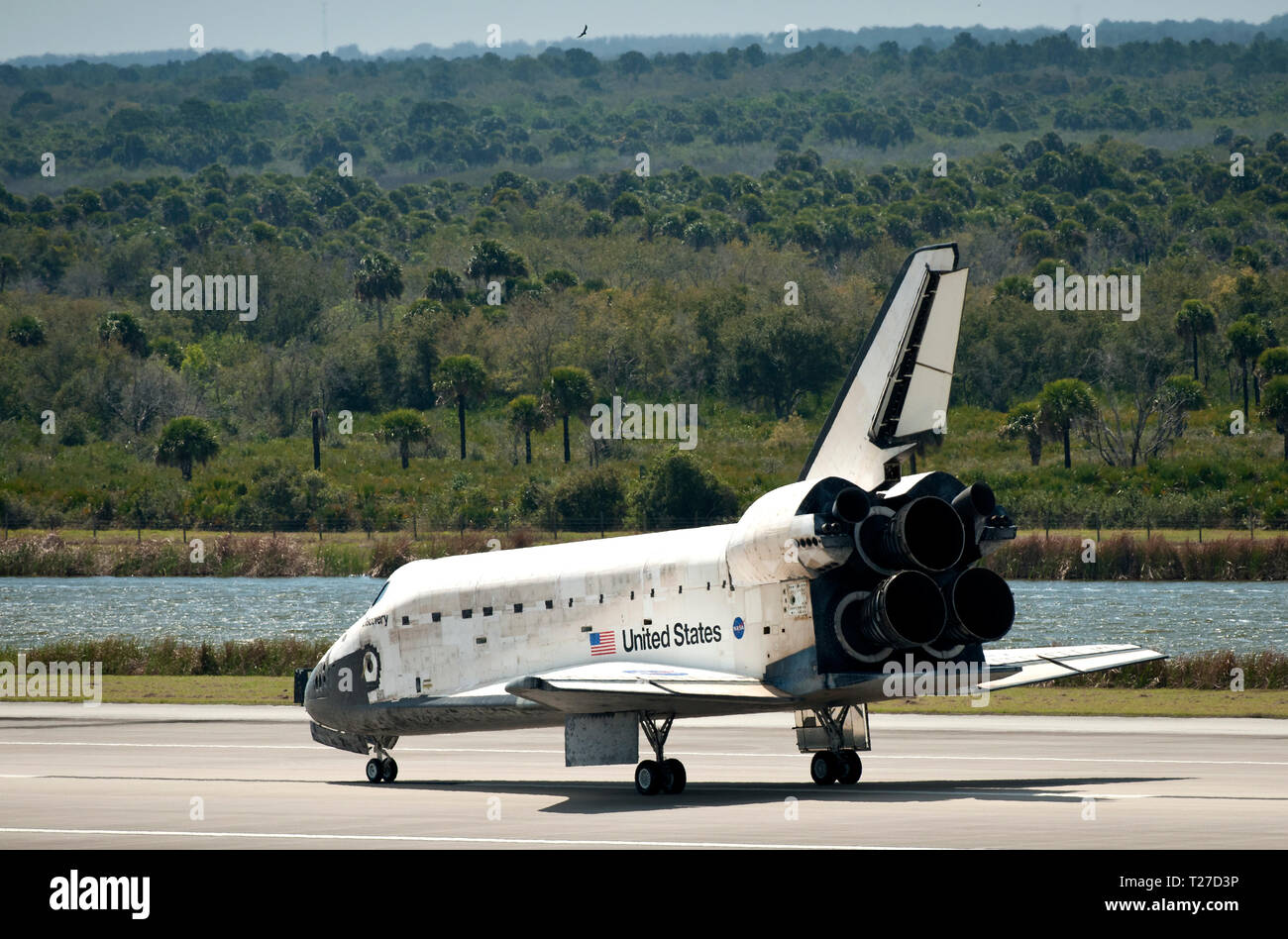 Space Shuttle Discovery (STS-133) is seen shortly after it landed, Wednesday, March 9, 2011, at Kennedy Space Center in Cape Canaveral, Fla., completing its 39th and final flight.  Since 1984, Discovery flew 39 missions, spent 365 days in space, orbited Earth 5,830 times and traveled 148,221,675 miles (NASA/Bill Ingalls) - Stock Image