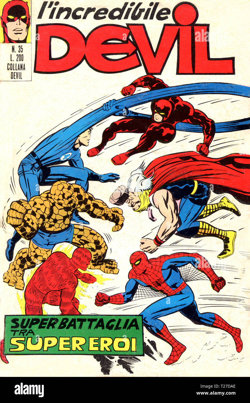 Italy - 1971: first edition of Marvel comic books, cover of Daredevil, l'incredibile Devil - Stock Image