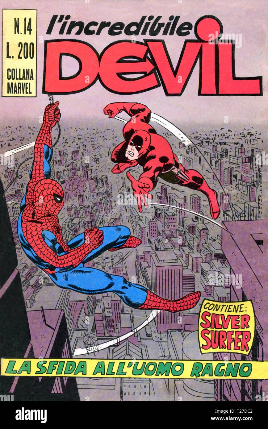 Italy - 1970: first edition of Marvel comic books, cover of Daredevil, l'incredibile Devil Stock Photo