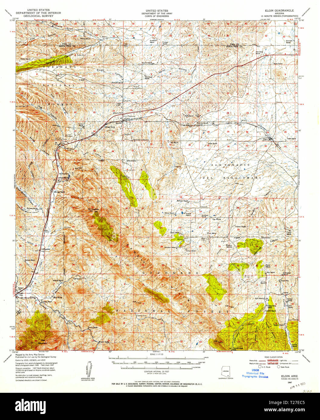 Map Of Elgin Arizona.Usgs Topo Map Arizona Az Elgin 314567 1947 62500 Restoration Stock