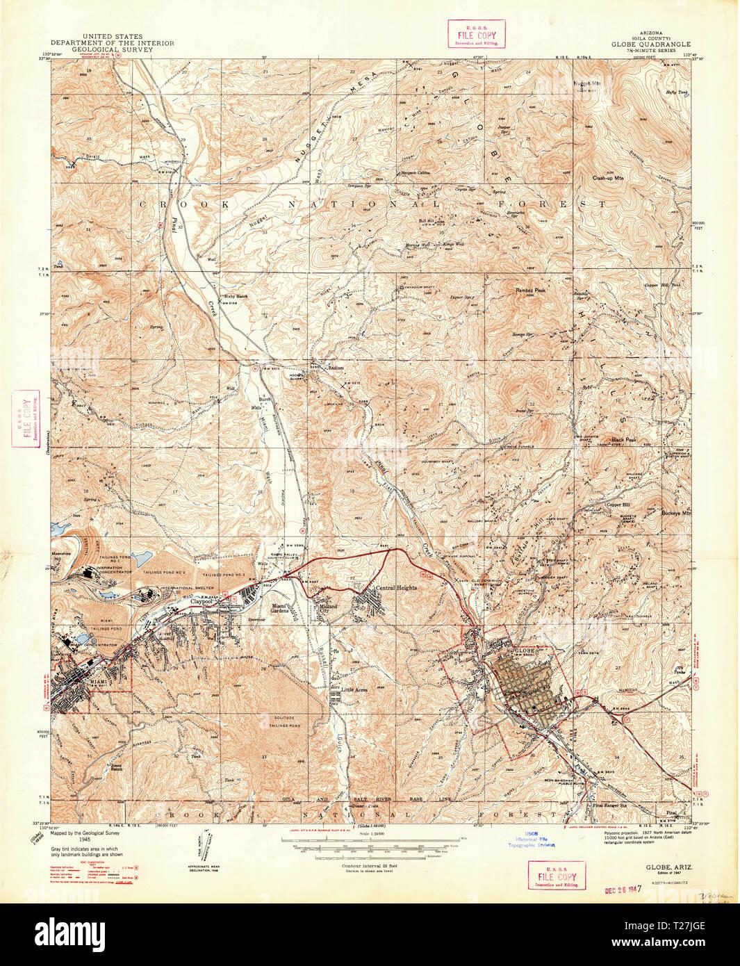 Map Of Arizona Only.Usgs Topo Map Arizona Az Globe 311500 1945 24000 Restoration Stock