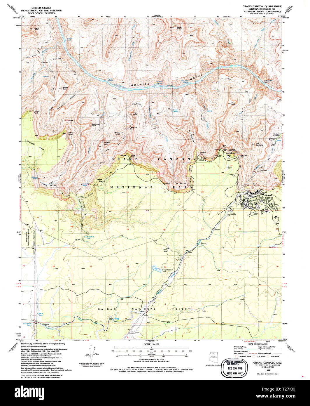 Map Of Arizona And Grand Canyon.Usgs Topo Map Arizona Az Grand Canyon 311526 1988 24000 Restoration