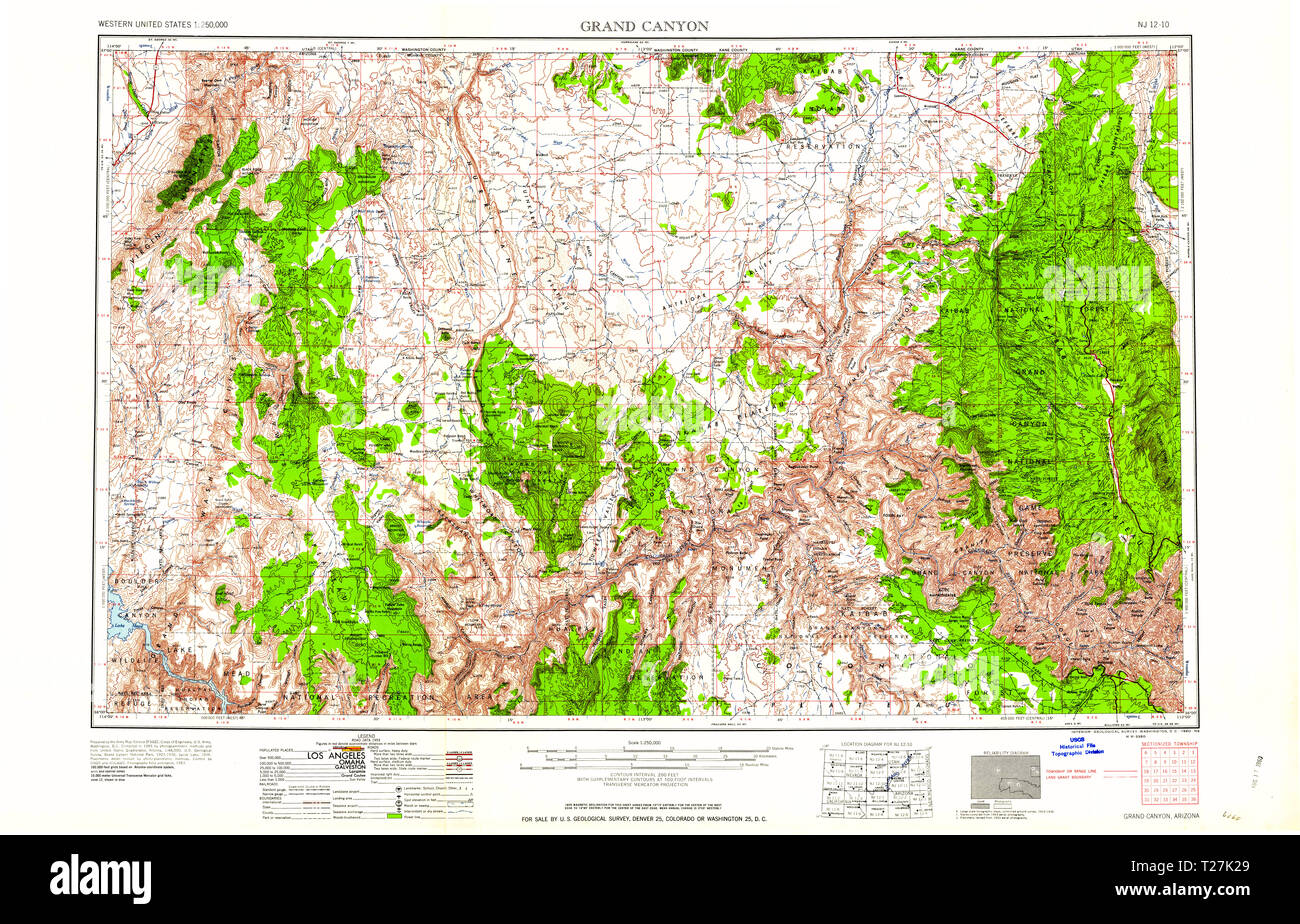 Map Of Arizona And Grand Canyon.Usgs Topo Map Arizona Az Grand Canyon 315496 1960 250000 Restoration