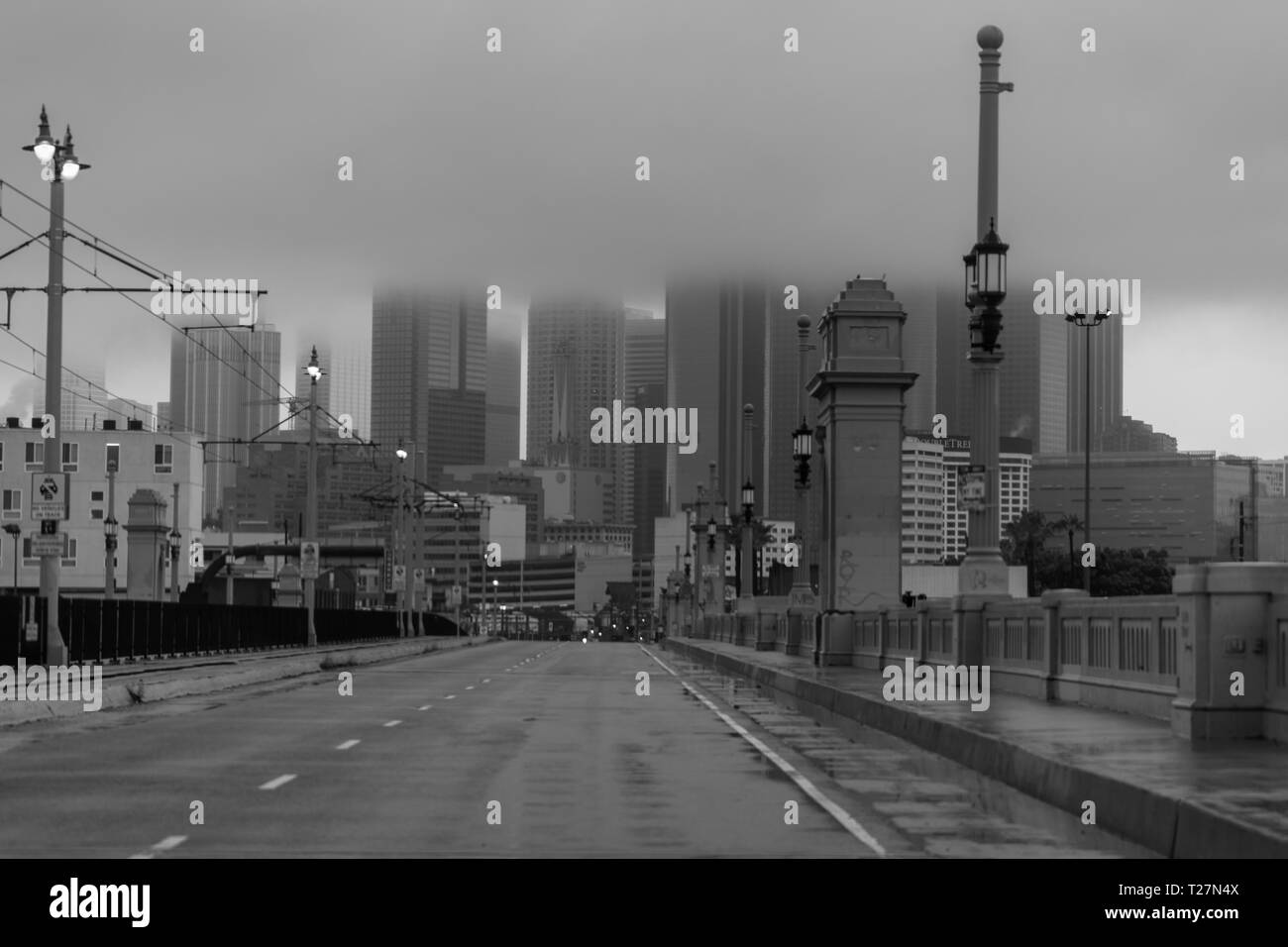 FEB 2, 2019 - LA, CA USA - Los Angeles under thick blanket of clouds from east side LA, CA in black and white - Stock Image
