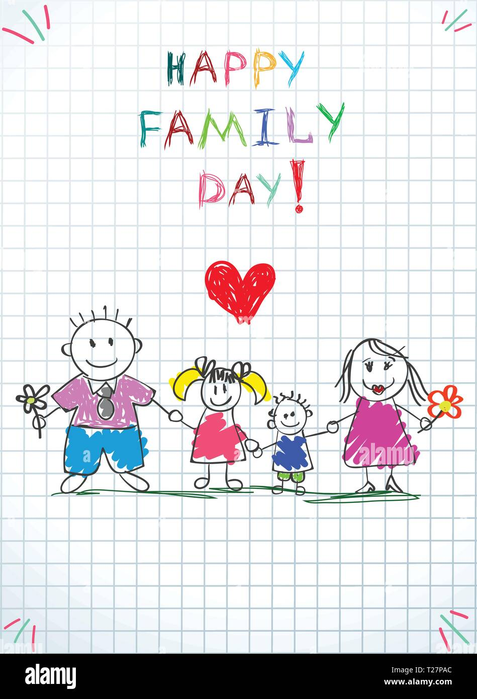 Happy Family Day Kids Doodle Picture of Little Boy and Girl Holding Hands of Young Parents Under Clouds and Sun on Checkered Sheet Background. Kids Dr - Stock Vector