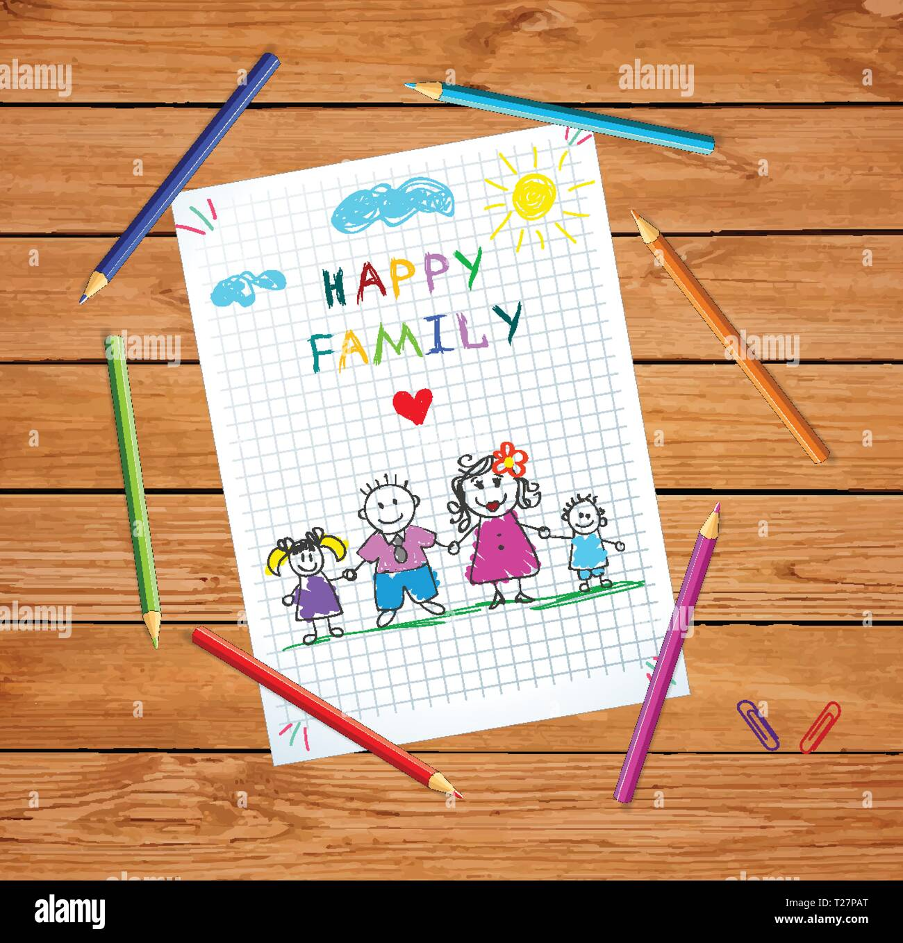 Young Parents Holding Hands of Children. Happy Family Day Greeting Card on Wooden Table Background with Colored Pencils Around. Doodle Style. Baby Dra - Stock Vector