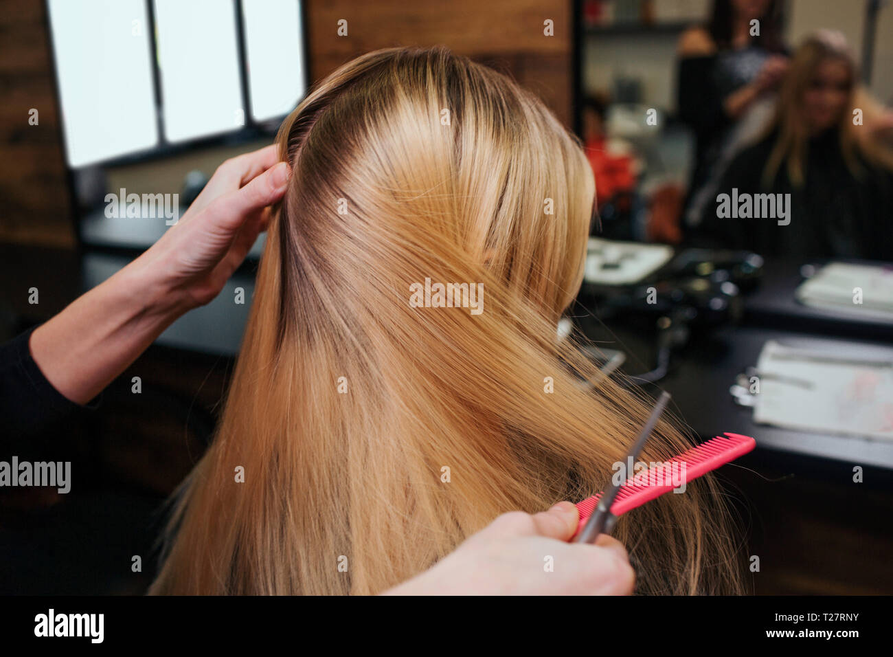 Hairstylist hands combing blonde hair before hair care procedures in beauty salon Stock Photo