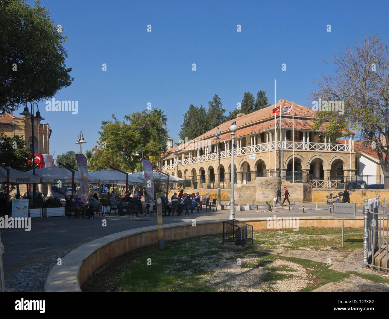 Atatürk Meydanı square with the building of the former British Colonial Law Courts in the Turkish part of Nicosia Cyprus - Stock Image