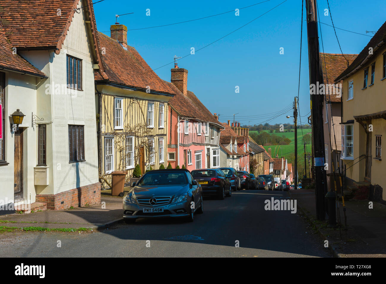 Lavenham Suffolk, view in summer of medieval houses sited in Prentice Street in the centre of Lavenham village, Babergh district, Suffolk, England, UK Stock Photo