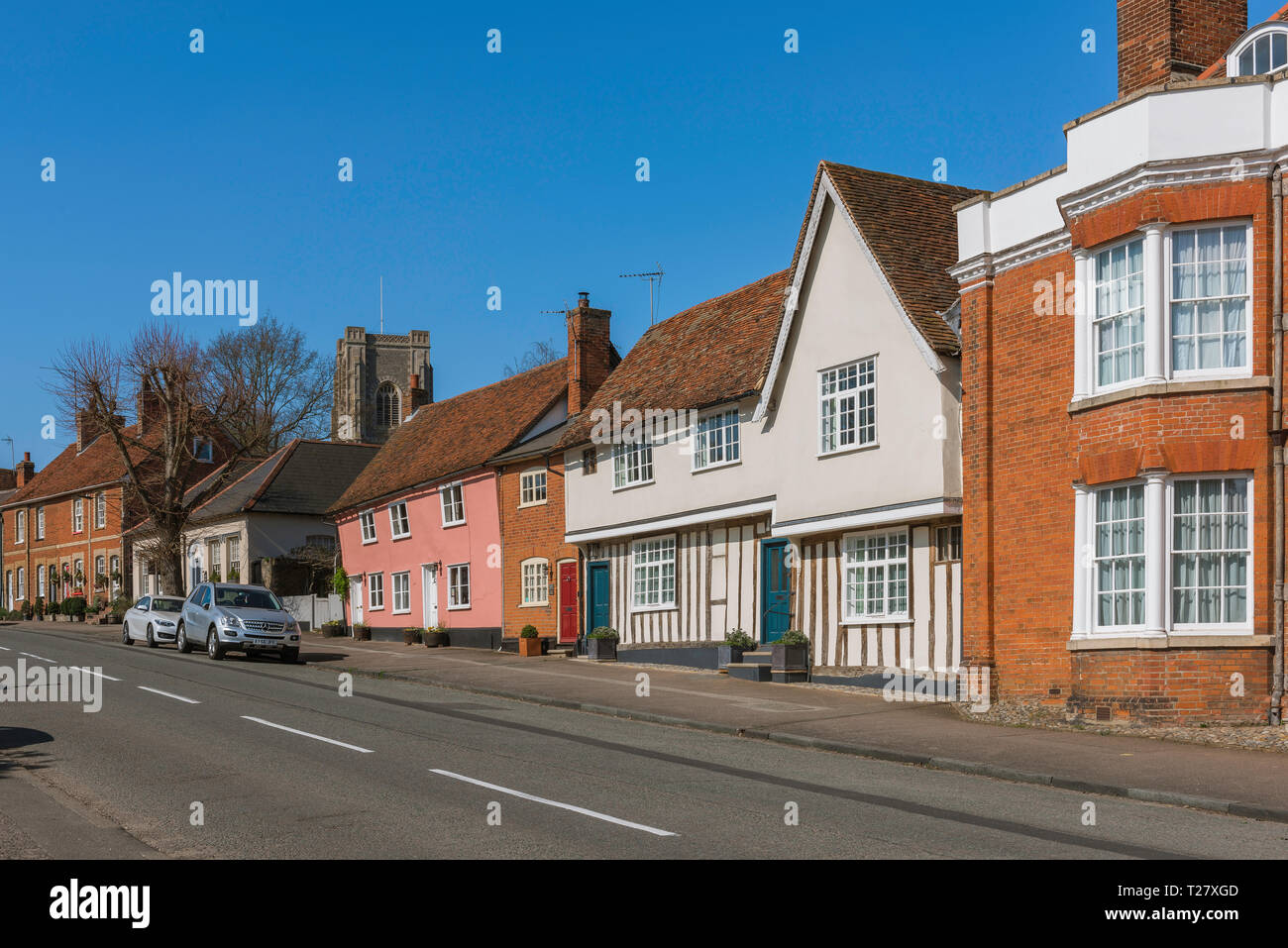 Lavenham Suffolk, view in summer of historic buildings lining the south end of the High Street in Lavenham, Babergh district, Suffolk, England, UK. - Stock Image