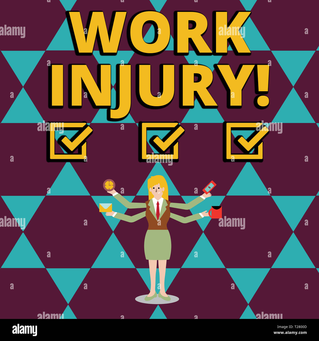 Text sign showing Work Injury. Business photo showcasing accident that occurred during and as result of working Businesswoman with Four Arms Extending - Stock Image