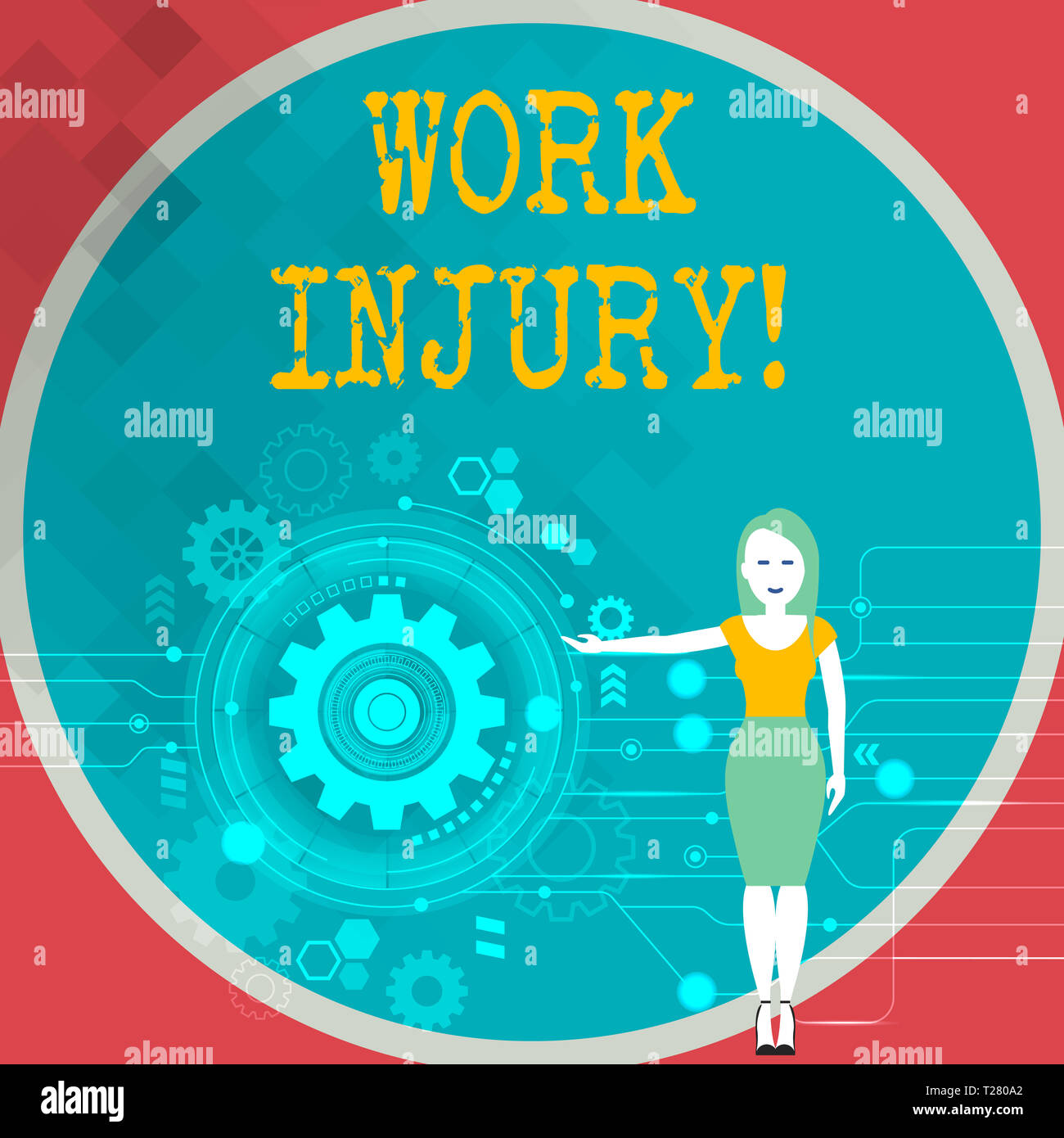 Text sign showing Work Injury. Business photo showcasing accident that occurred during and as result of working Woman Standing and Presenting the SEO  - Stock Image