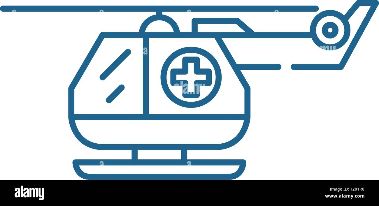 Ambulance helicopter line icon concept. Ambulance helicopter flat  vector symbol, sign, outline illustration. - Stock Vector