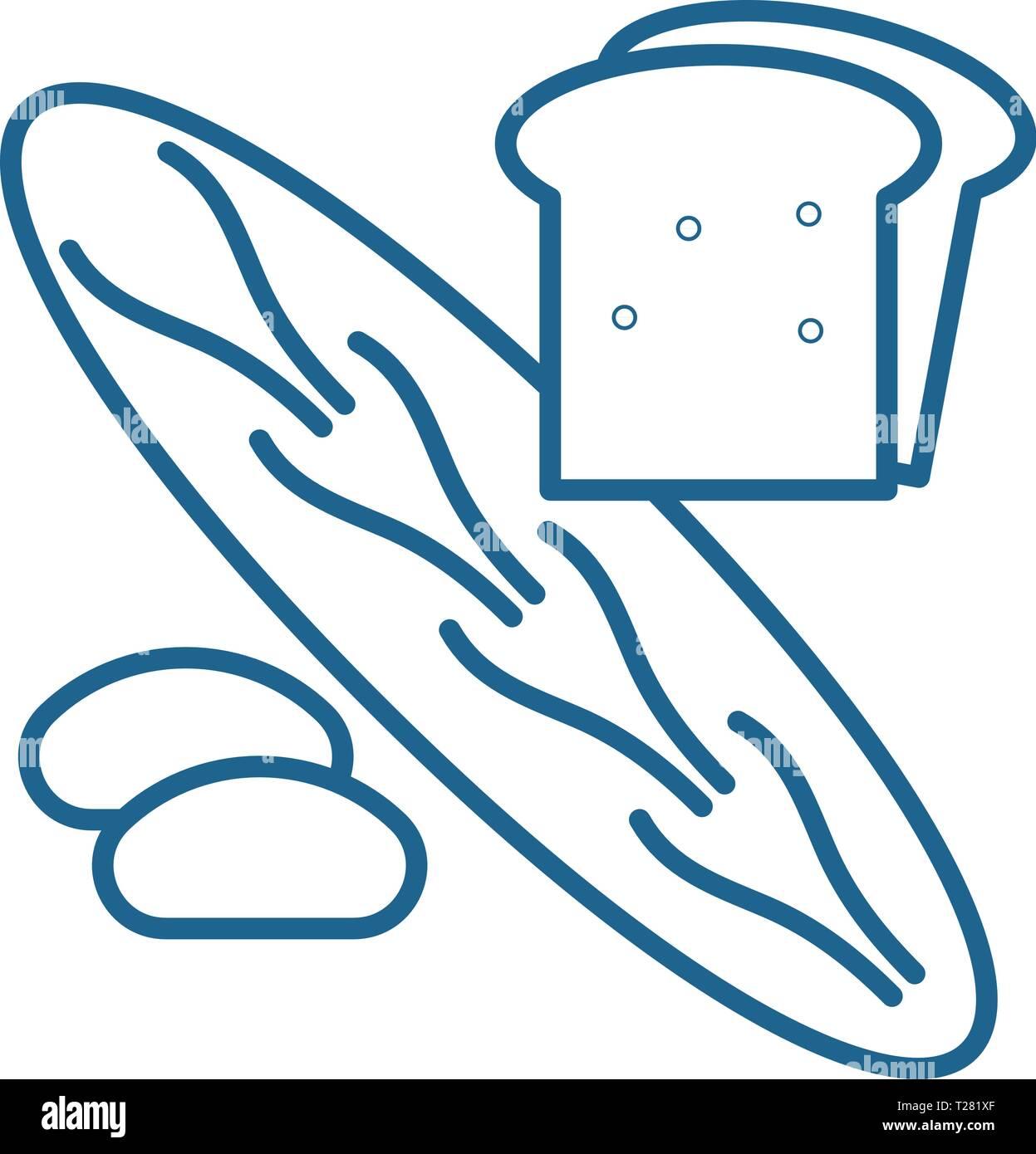Bakery shop line icon concept. Bakery shop flat  vector symbol, sign, outline illustration. - Stock Vector
